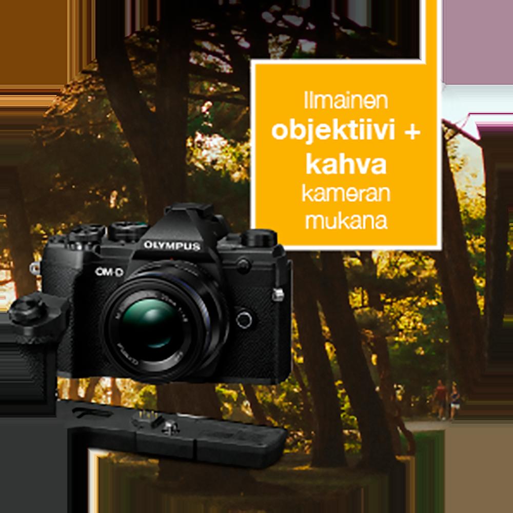 Olympus OM-D E-M5 Mark III + M.Zuiko 14-150mm f/4-5.6 ED II -järjestelmäkamera, musta